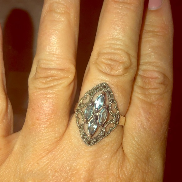 Blue Topaz and Marcasite Sterling Silver Ring